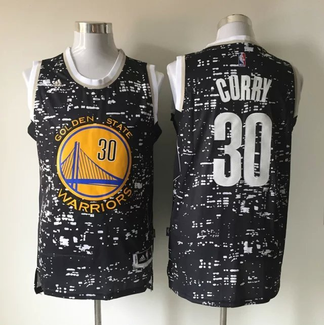 NBA Golden State Warriors 30 Curry Black Urban Luminous Version Jersey