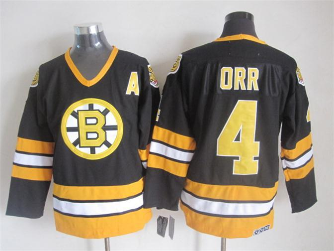 NHL Boston Bruins 4 ORR black Throwback Jersey