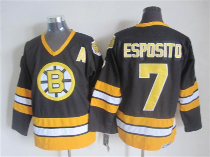 NHL Boston Bruins 7 ESPOSITO black Throwback Jersey