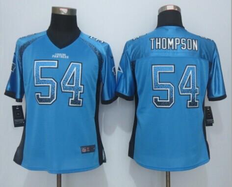 Womens Carolina Panthers 54 Thompson Drift Fashion Blue 2015 New Nike Elite Jerseys