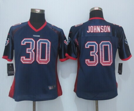 Womens Houston Texans 30 Johnson Drift Fashion Blue 2015 New Nike Elite Jerseys