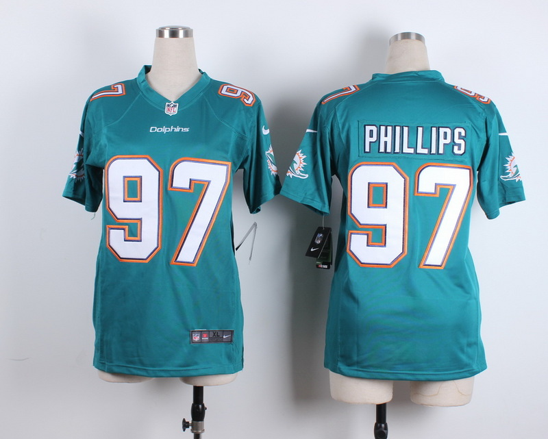 Womens Miami Dolphins 97 Phillips Green 2015 New Nike Jerseys