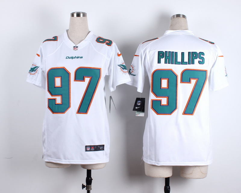 Womens Miami Dolphins 97 Phillips White 2015 New Nike Jerseys