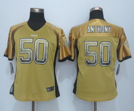 Womens New Orleans Saints 50 Anthony Drift Fashion Gold 2015 New Nike Elite Jerseys