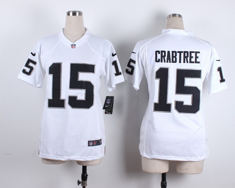 Womens Oakland Raiders 15 Crabtree White 2015 New Nike Jerseys