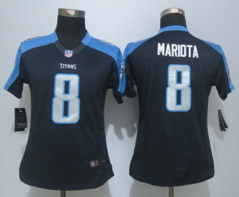 Womens Tennessee Titans 8 Mariota Navy Blue Limited Jerseys