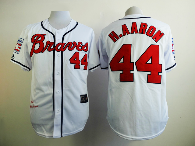 MLB Atlanta Braves 44 H.Aaron White 1963s Throwback with Hall of Fame Patch Jersey