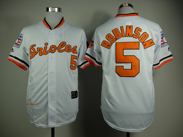 MLB Baltimore Orioles 5 Robinson White 1970s Throwback with Hall of Fame Patch Jersey