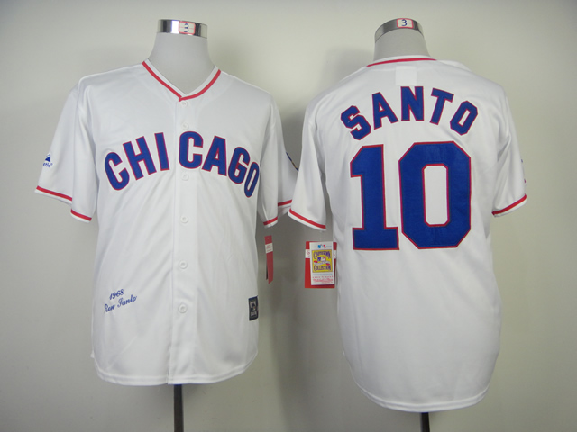 MLB Chicago Cubs 10 Santo White 1968s Throwback Majestic Jersey