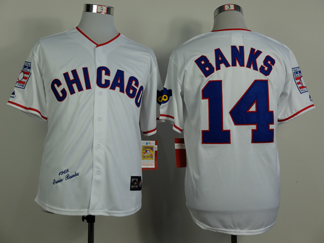 MLB Chicago Cubs 14 Banks White 1968s Throwback Jersey