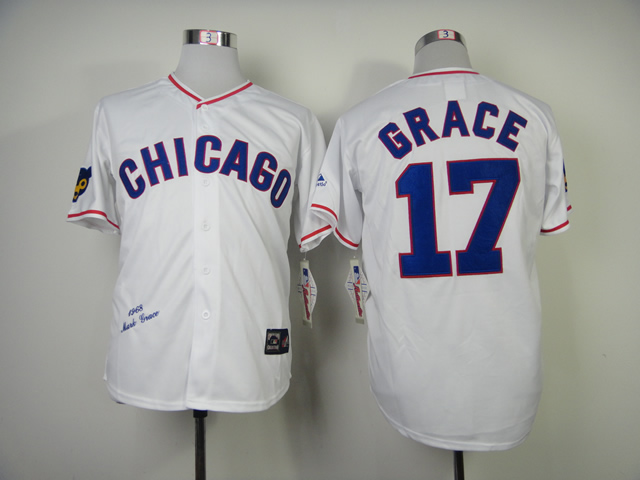 MLB Chicago Cubs 17 Grace White 1968s Throwback Jersey