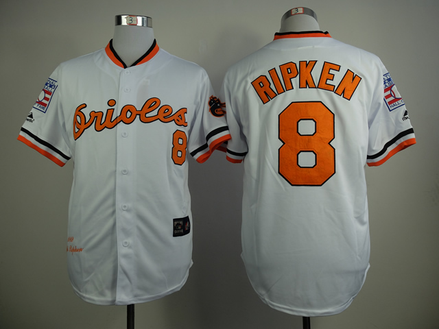 MLB Baltimore Orioles 8 Ripken White 1970s Throwback with Hall of Fame Patch Jersey
