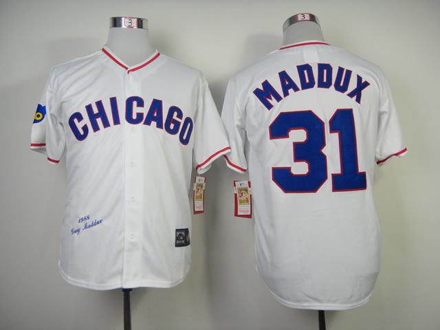 MLB Chicago Cubs 31 Maddux White 1988s Throwback Majestic Jersey