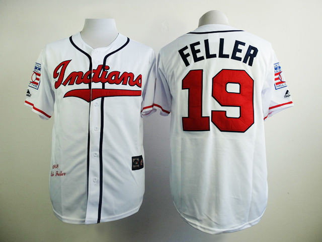 MLB Cleveland Indians 19 Feller White 1948s Throwback with Hall of Fame Patch Jersey