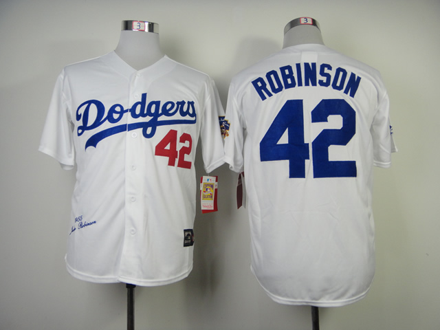 MLB Los Angeles Dodgers 42 Robinson White 1955s Throwback with Hall of Fame Patch Jersey