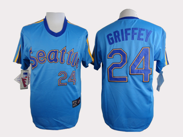 MLB Seattle Mariners 24 Griffey Blue Jersey