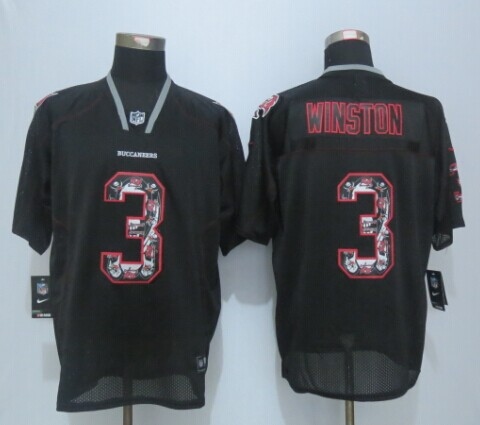 Tampa Bay Buccaneers 3 Winston Lights Out Black 2015 New Nike Elite Jerseys