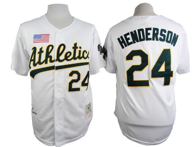 MLB Oakland Athletics 24 Henderson White 1990 Throwback Jersey
