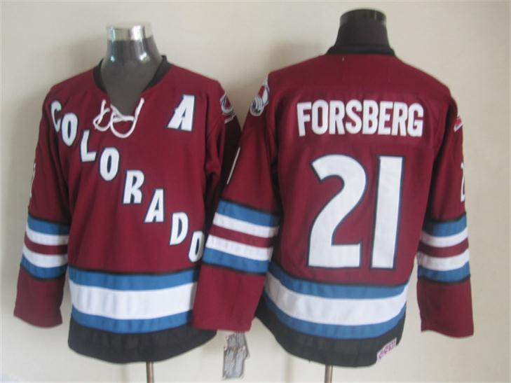NHL Colorado Avalanche 21 forsberg red Third Jersey