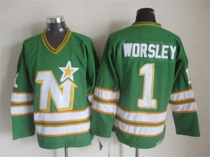 NHL Dallas Stars 1 Worsley green CCM Throwback Jersey