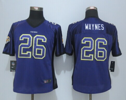 Womens Minnesota Vikings 26 Waynes Drift Fashion Purple New Nike Elite Jerseys