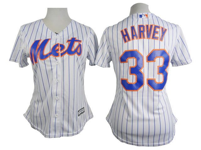Womens MLB New York Mets 33 Harvey White stripe 2015 New Jersey