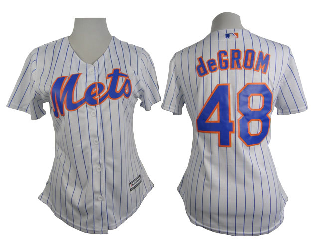 Womens MLB New York Mets 48 degrom White stripe 2015 New Jersey