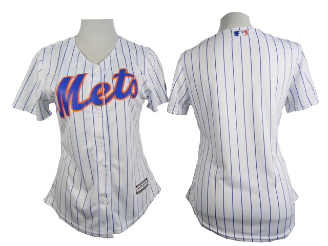 Womens MLB New York Mets Blank White stripe 2015 New Jersey