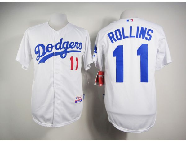 MLB Los Angeles Dodgers 11 Rollins White 2015 Jerseys