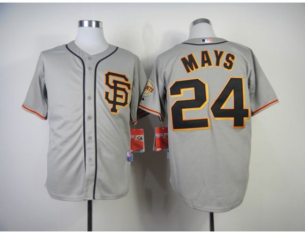 MLB San Francisco Giants 24 Mays Grey Throwback 2015 Jerseys