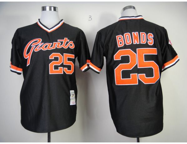 MLB San Francisco Giants 25 Bonds Black Throwback 2015 Jerseys