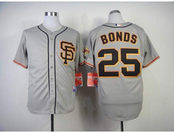 MLB San Francisco Giants 25 Bonds Grey Throwback 2015 Jerseys