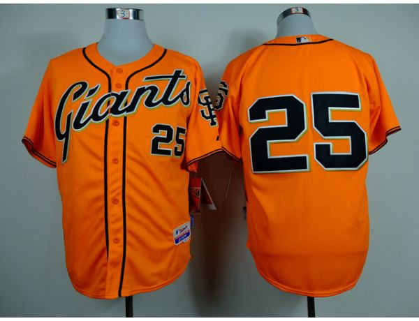 MLB San Francisco Giants 25 Bonds Orange Throwback 2015 Jerseys