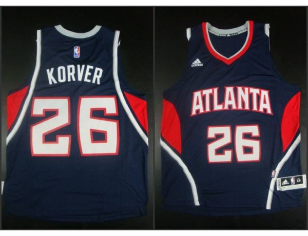 NBA Atlanta Hawks 26 Kyle Korver Blue 2015 Jerseys