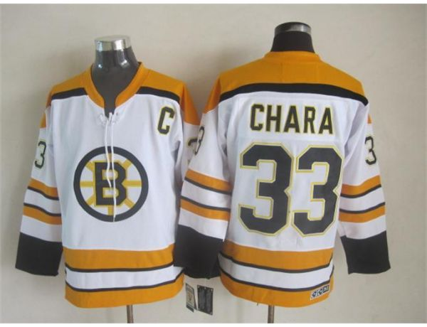 NHL Boston Bruins 33 Chara White Throwback Jersey
