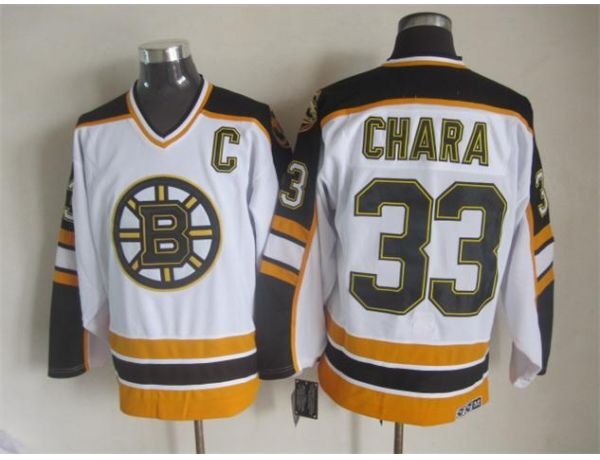 NHL Boston Bruins 33 Chara White1 Throwback Jersey