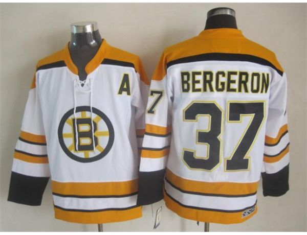 NHL Boston Bruins 37 bergeron White Throwback Jersey1