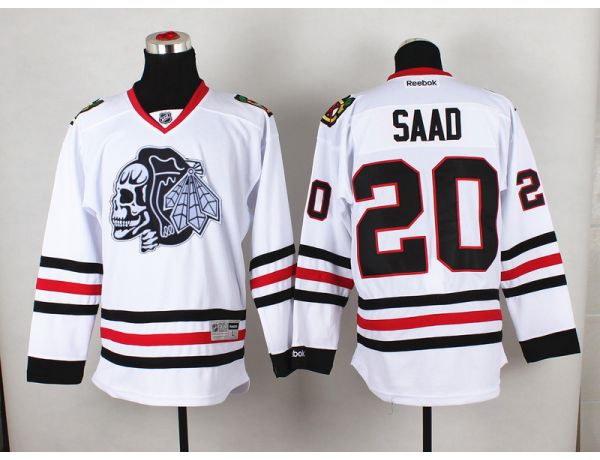 NHL Chicago Blackhawks 20 Saad White Black Skull 2015 Jersey