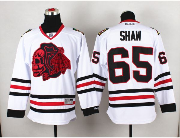 NHL Chicago Blackhawks 65 shaw White Red Skull 2015 Jersey