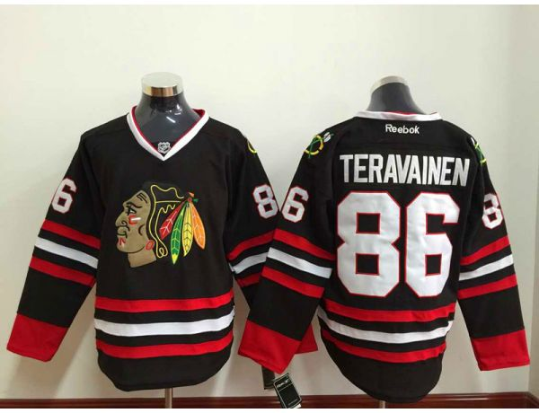 NHL Chicago Blackhawks 86 TERAVAINEN Black 2015 Jersey