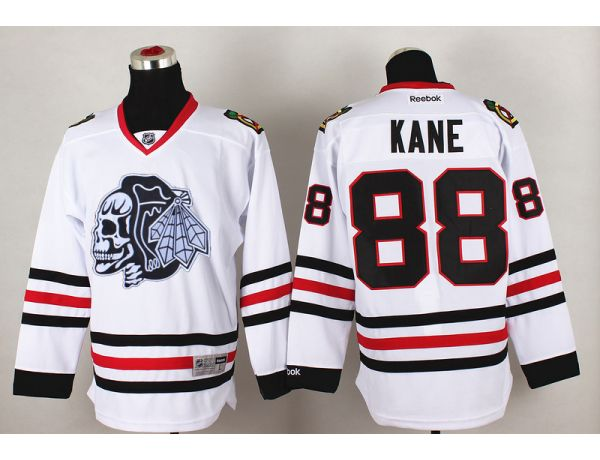 NHL Chicago Blackhawks 88 kane White Black Skull 2015 Jersey