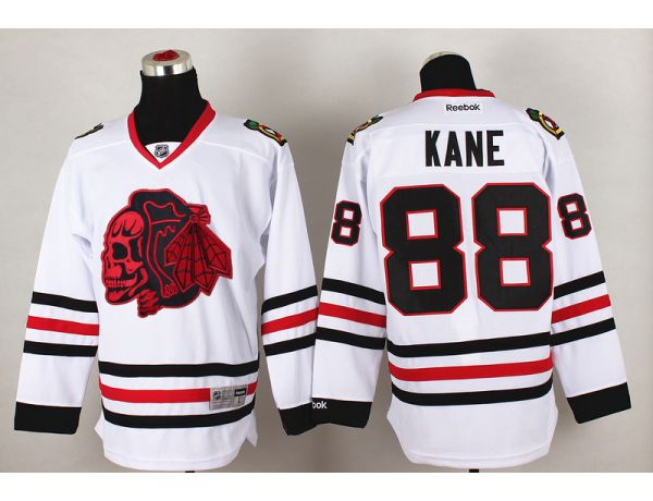 NHL Chicago Blackhawks 88 kane White Red Skull 2015 Jersey