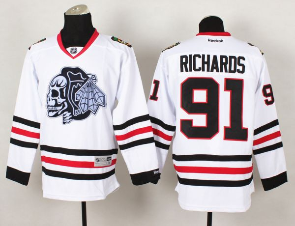 NHL Chicago Blackhawks 91 Richards White Black Skull 2015 Jersey