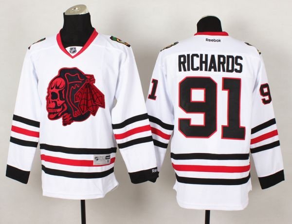 NHL Chicago Blackhawks 91 Richards White Red Skull 2015 Jersey
