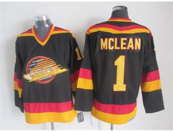 NHL Vancouver Canucks 1 Mclean Black Throwback 2015 Jerseys