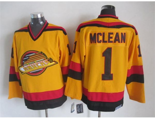 NHL Vancouver Canucks 1 Mclean Orange Throwback 2015 Jerseys