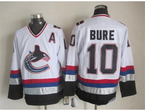 NHL Vancouver Canucks 10 Bure White Throwback 2015 Jerseys