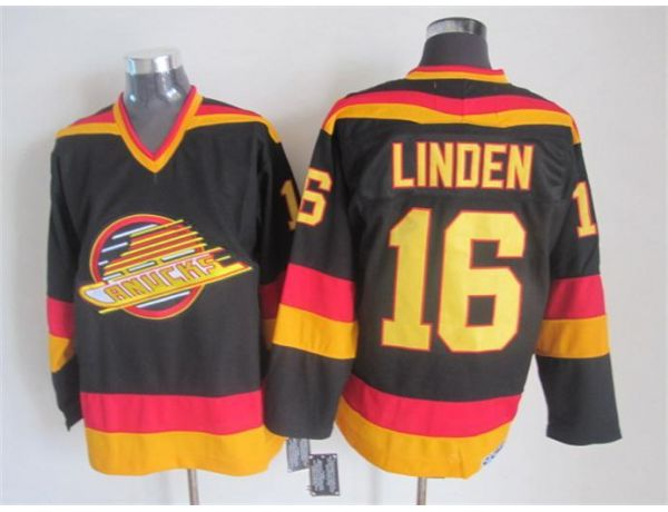 NHL Vancouver Canucks 16 Linden Black Throwback 2015 Jerseys