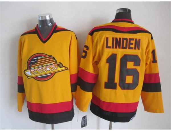NHL Vancouver Canucks 16 Linden Orange Throwback 2015 Jerseys