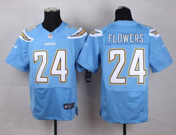 NFL Customize San Diego Chargers 24 Flowers baby blue Men Nike Elite Jerseys